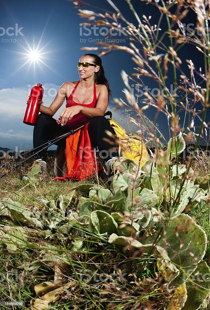 Beautiful hiker royalty-free stock photo