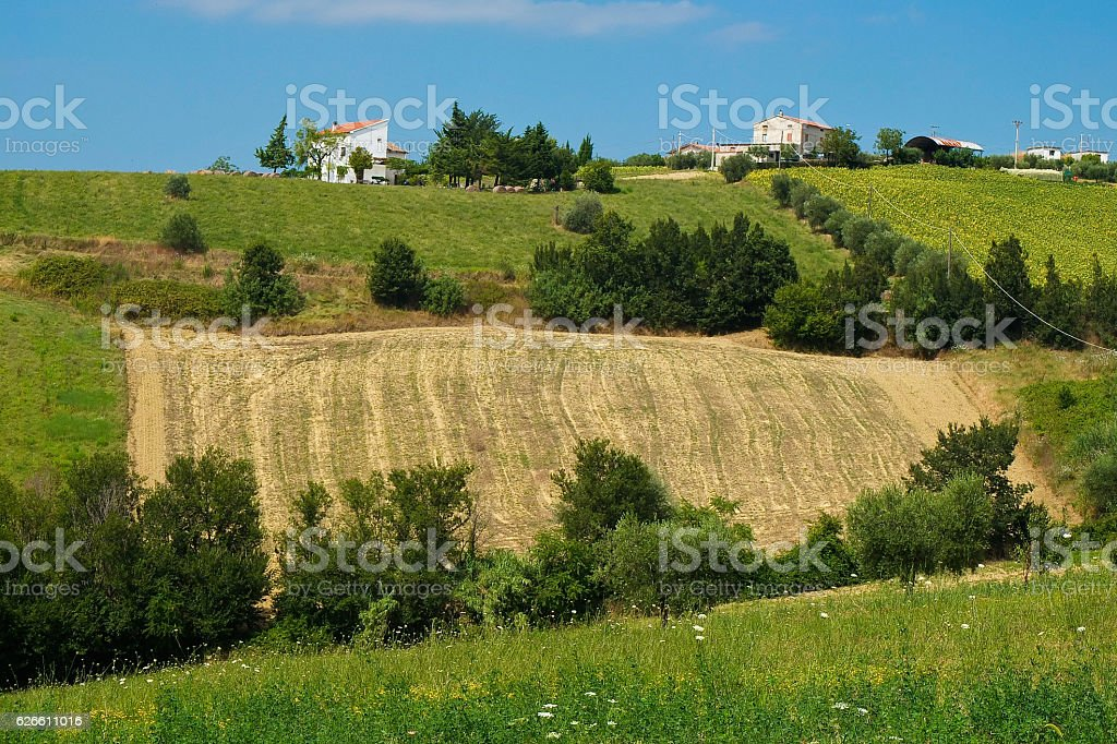 beautiful hills in the province of Teramo in Italy stock photo