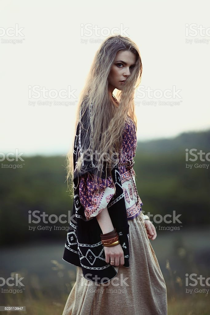 Beautiful hippie girl stock photo