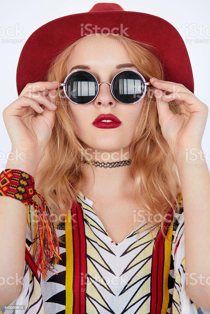 beautiful hippie young woman wearing boho chic clothes stock photo