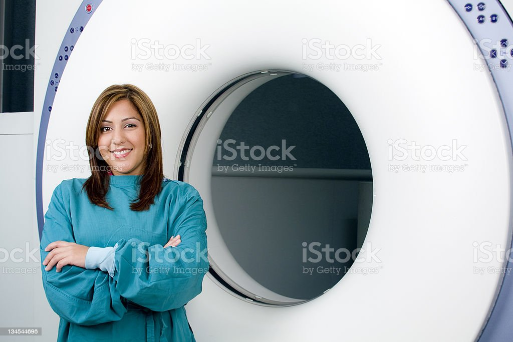 Beautiful Hispanic Cat Scan Technician royalty-free stock photo