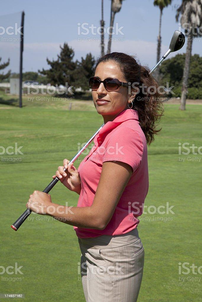 Beautiful Hispanic Golfer royalty-free stock photo
