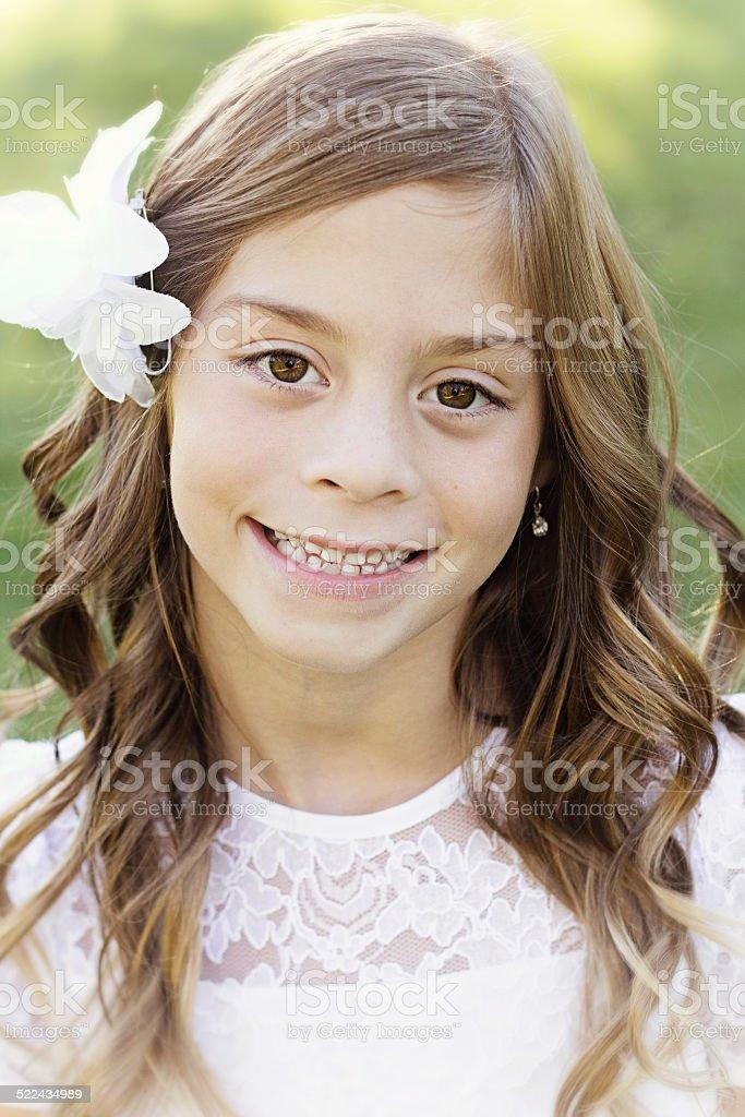Beautiful hispanic little girl portrait stock photo