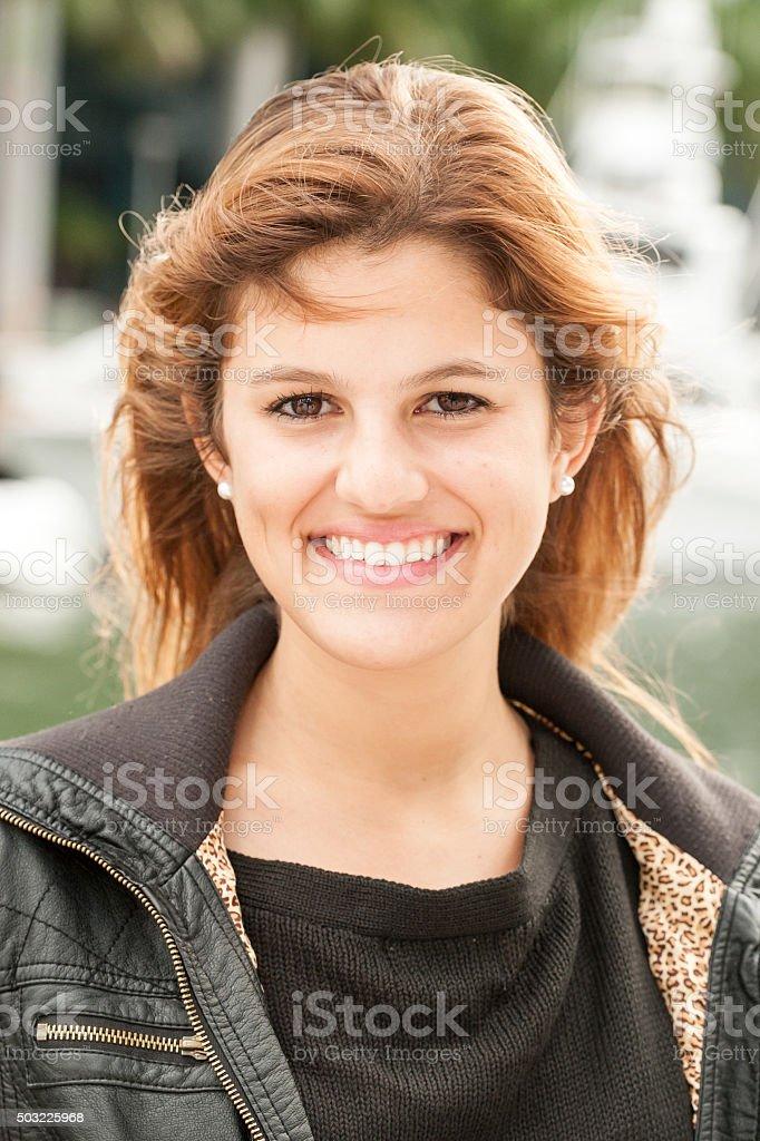 Beautiful hispanic teenager stock photo