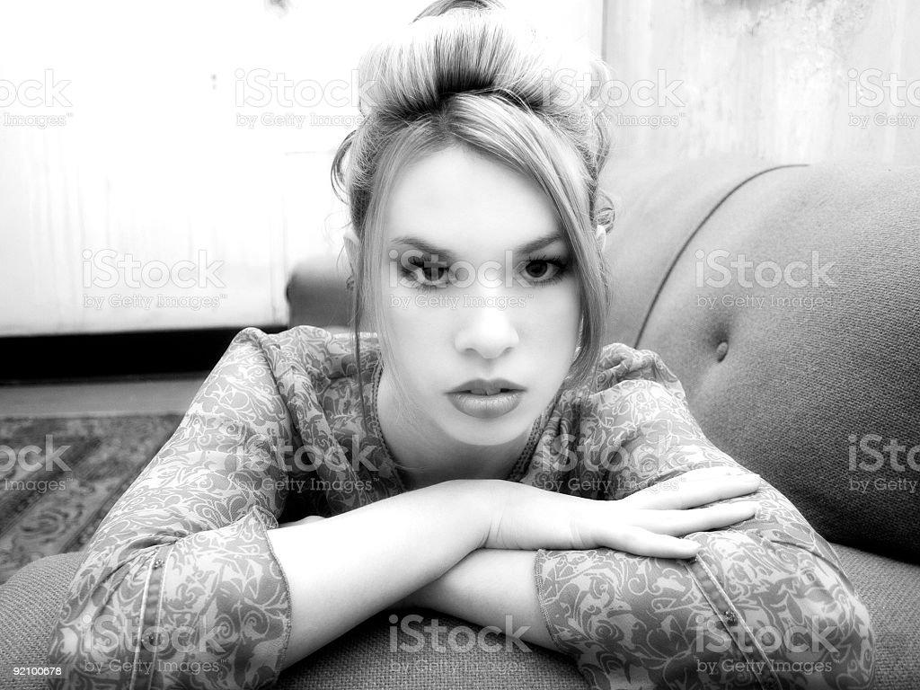 Beautiful Hispanic Woman in Grungy Apartment royalty-free stock photo