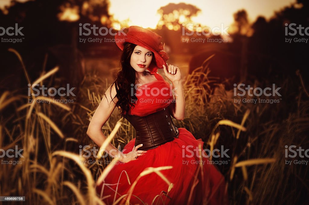 Beautiful Hispanic Woman in Red Tulle Dress And Leather Corset stock photo