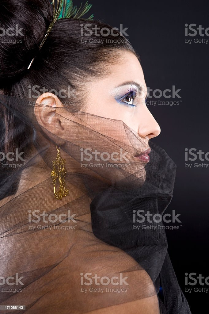 Beautiful Hispanic Young Woman Beauty Profile in Gown and Updo royalty-free stock photo