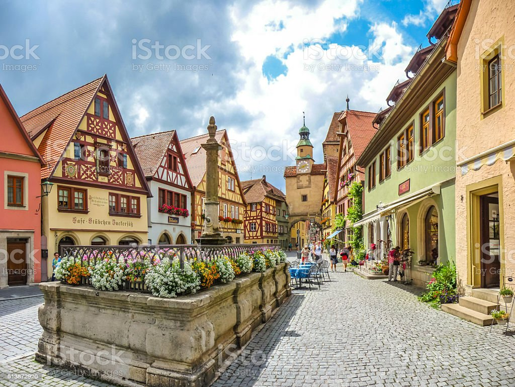 Beautiful historic town of Rothenburg ob der Tauber, Germany stock photo