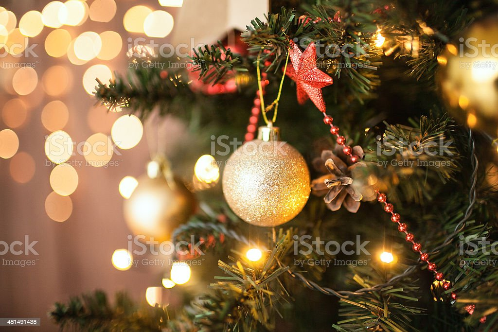 Beautiful holiday decorated room with Christmas tree stock photo
