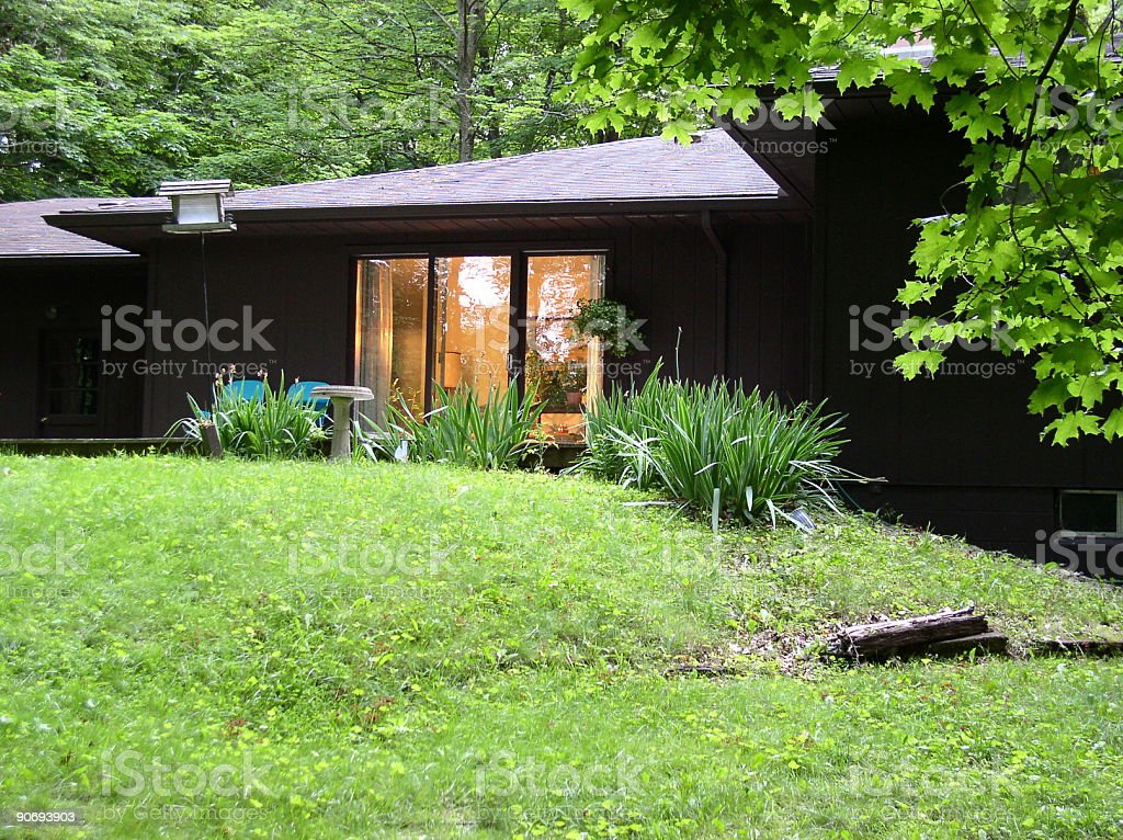Beautiful Home on a Wooded Lot royalty-free stock photo