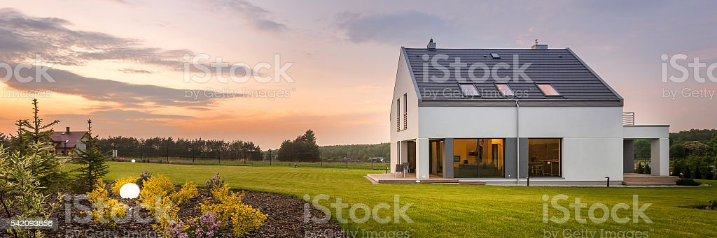 Beautiful home with amazing backyard stock photo
