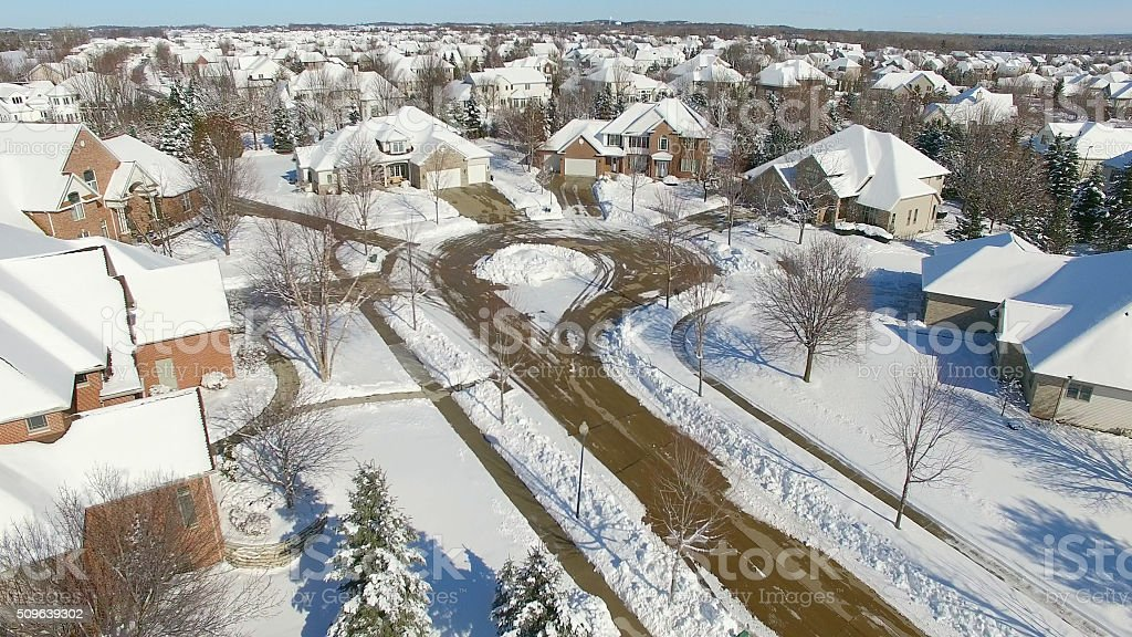 Beautiful Homes Under Deep Blizzard Snow stock photo