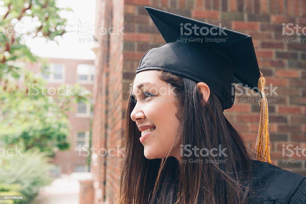 Beautiful Hopeful Milennial American Hispanic Women Celebrating Graduation Day USA stock photo