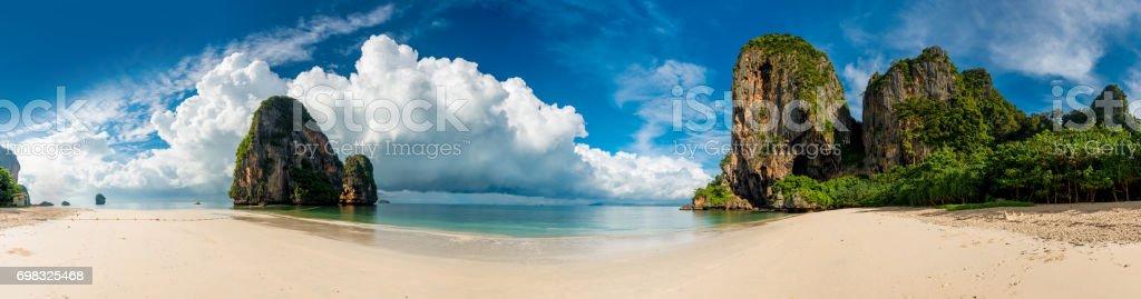 Beautiful horizontal panorama of Thailand beach  Phra Nang stock photo