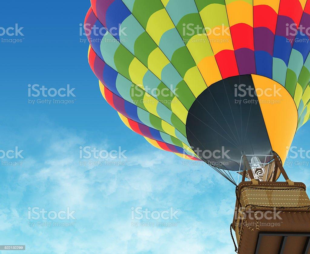 Beautiful Hot Air Balloon against a deep blue sky. stock photo