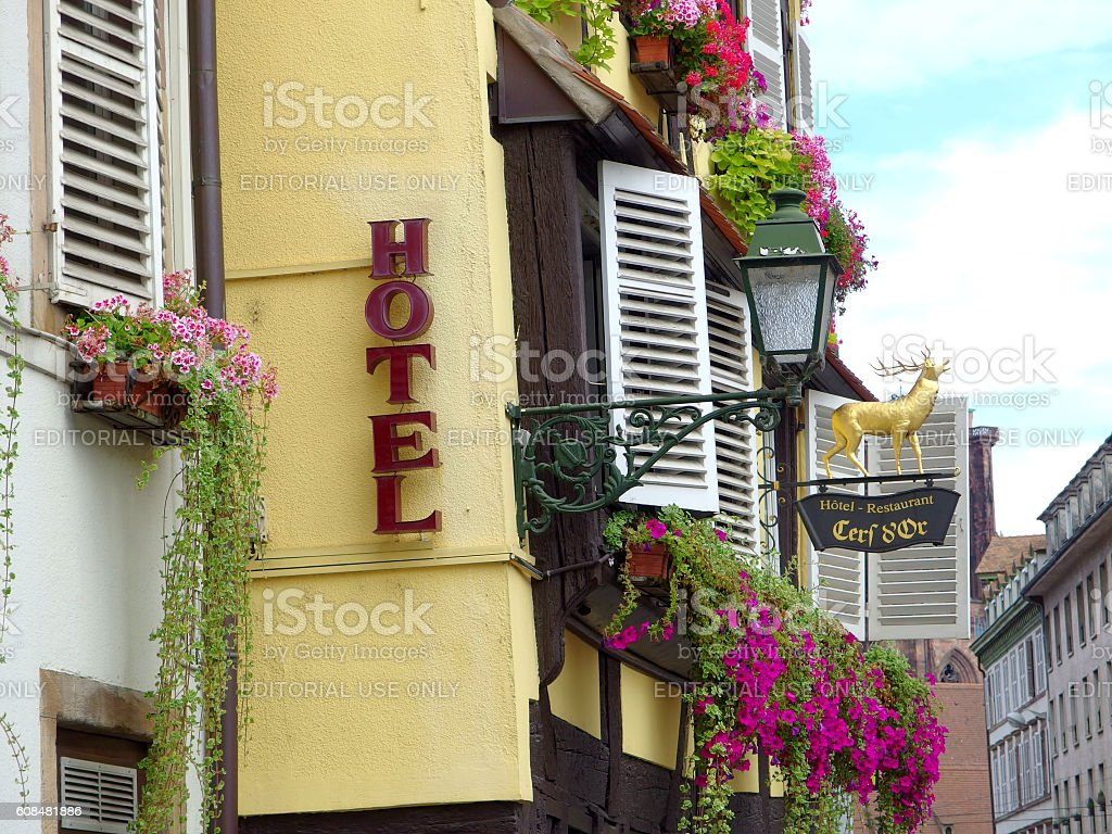 Beautiful house and hotel in the old town of Strasbourg stock photo
