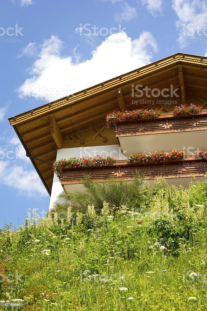 Beautiful House in the Alps stock photo