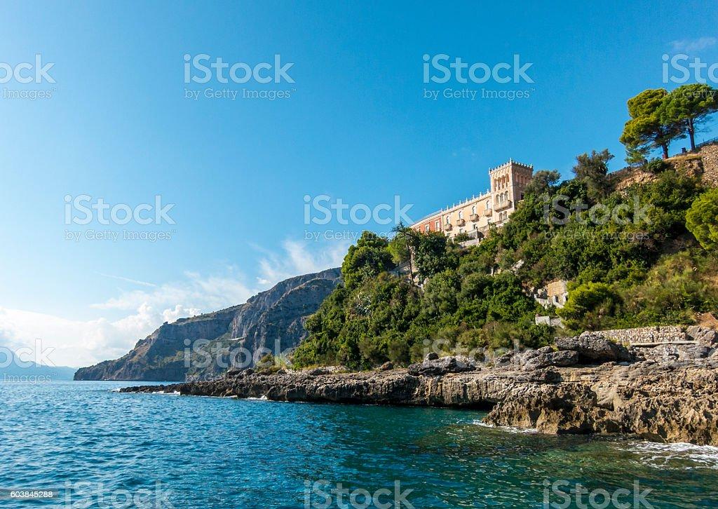 beautiful house villa on the sea in Maratea, south Italy stock photo