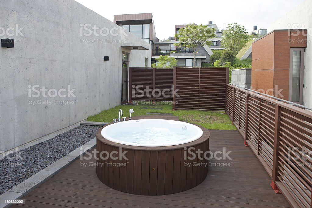 beautiful house with jacuzzi royalty-free stock photo
