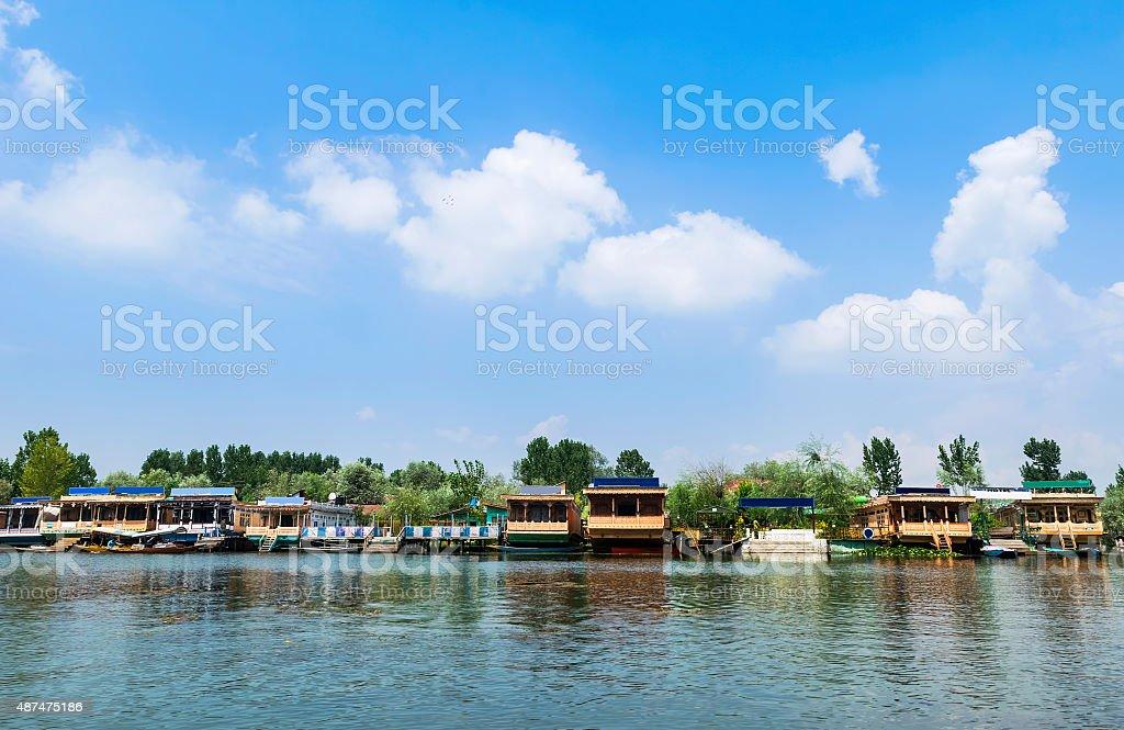 Beautiful Houseboats and Hotels at Dal Lake, Srinagar, Kashmir, India stock photo