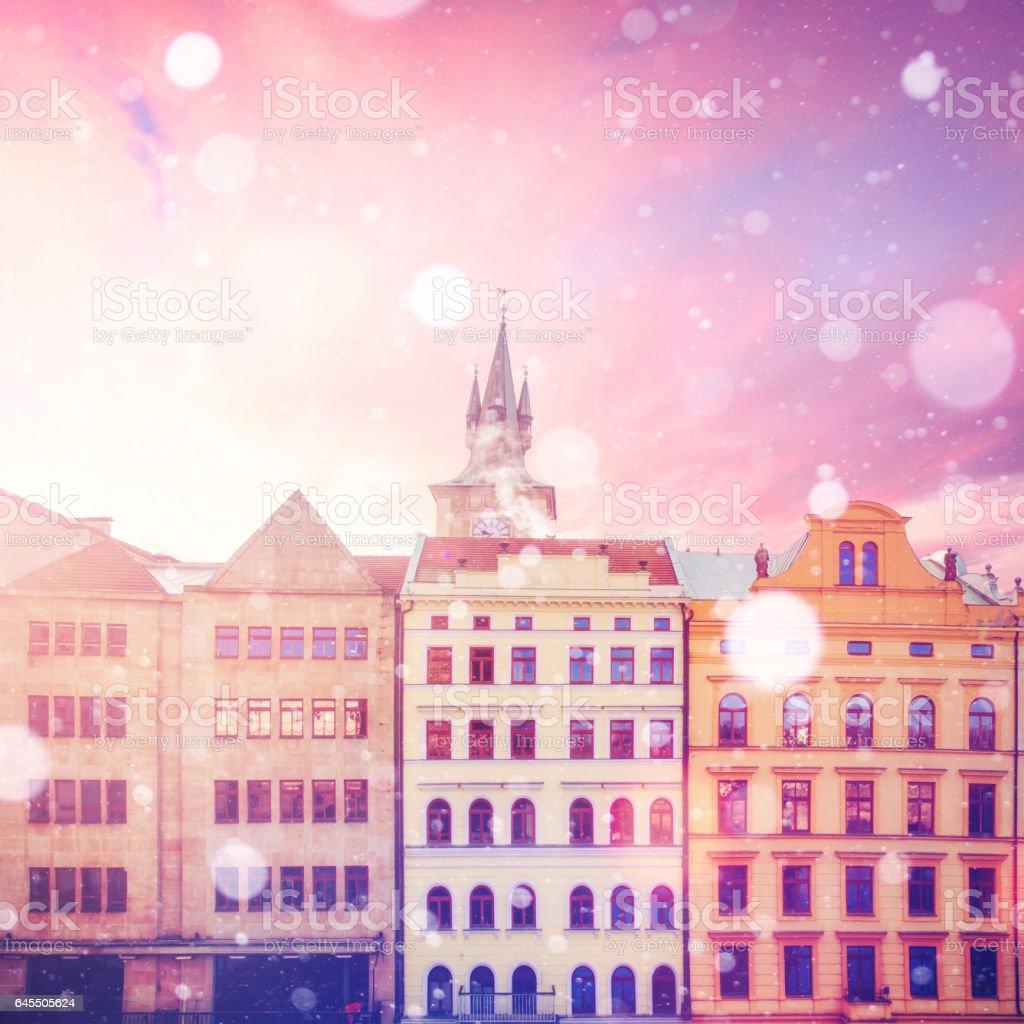 beautiful houses Czech Republic. Photo greeting card stock photo