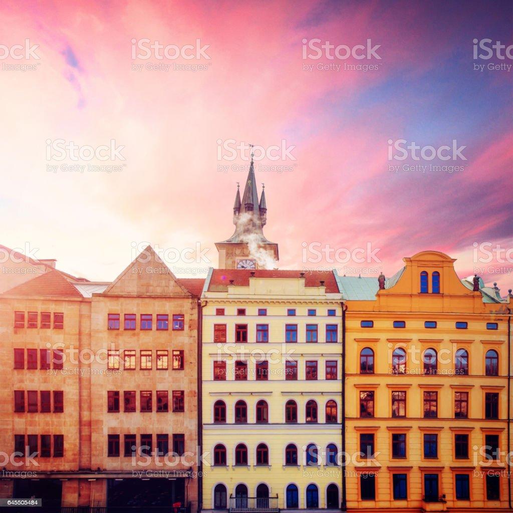 beautiful houses Czech Republic stock photo
