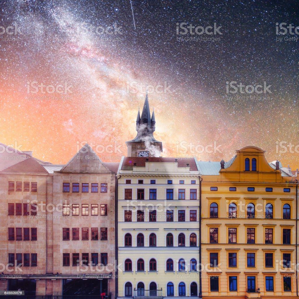 beautiful houses Czech Republic. Starry sky and milky way over t stock photo