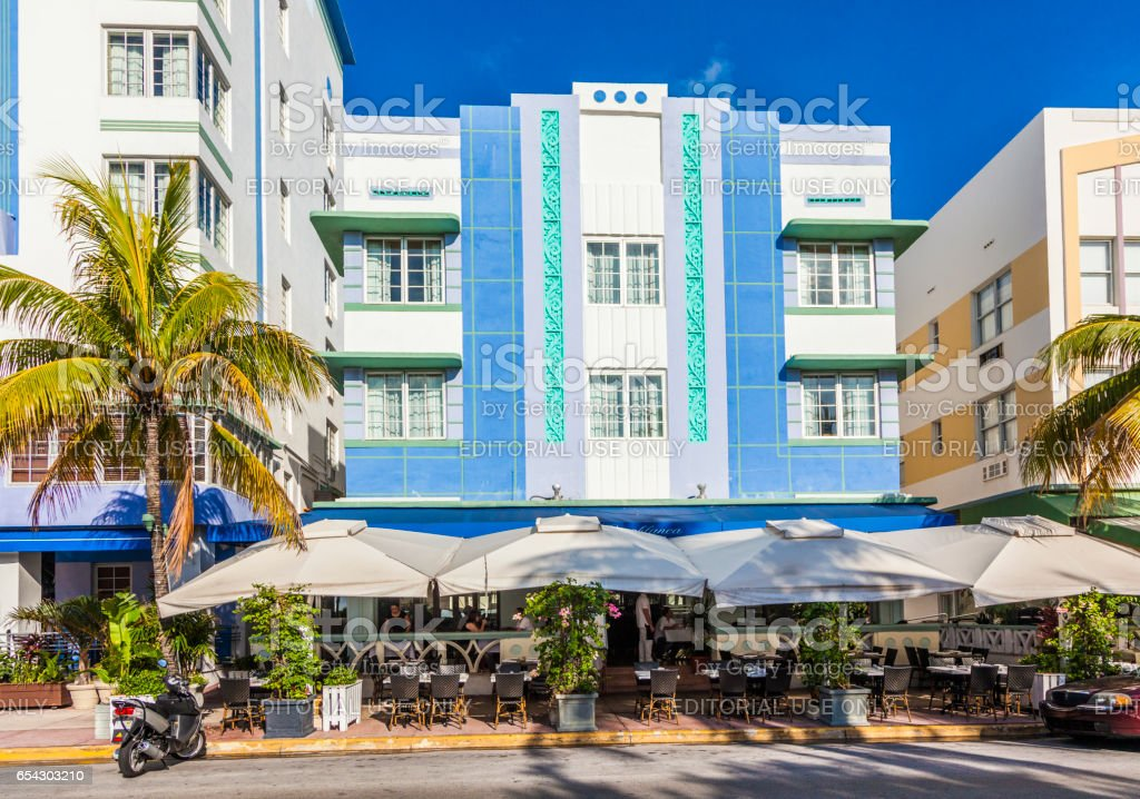 beautiful houses in Art Deco style in South Miami stock photo