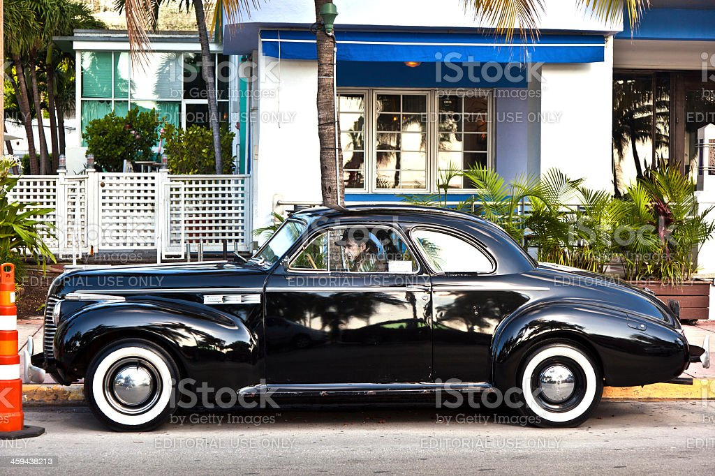 beautiful houses in Art Deco style with classic car stock photo