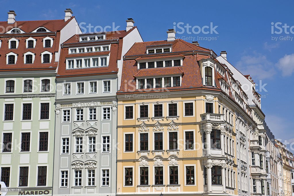Beautiful houses in Dresden, Germany stock photo