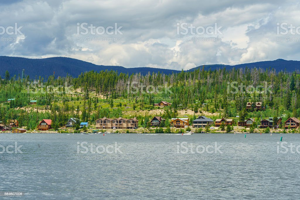 Beautiful Houses in Grand Lake stock photo