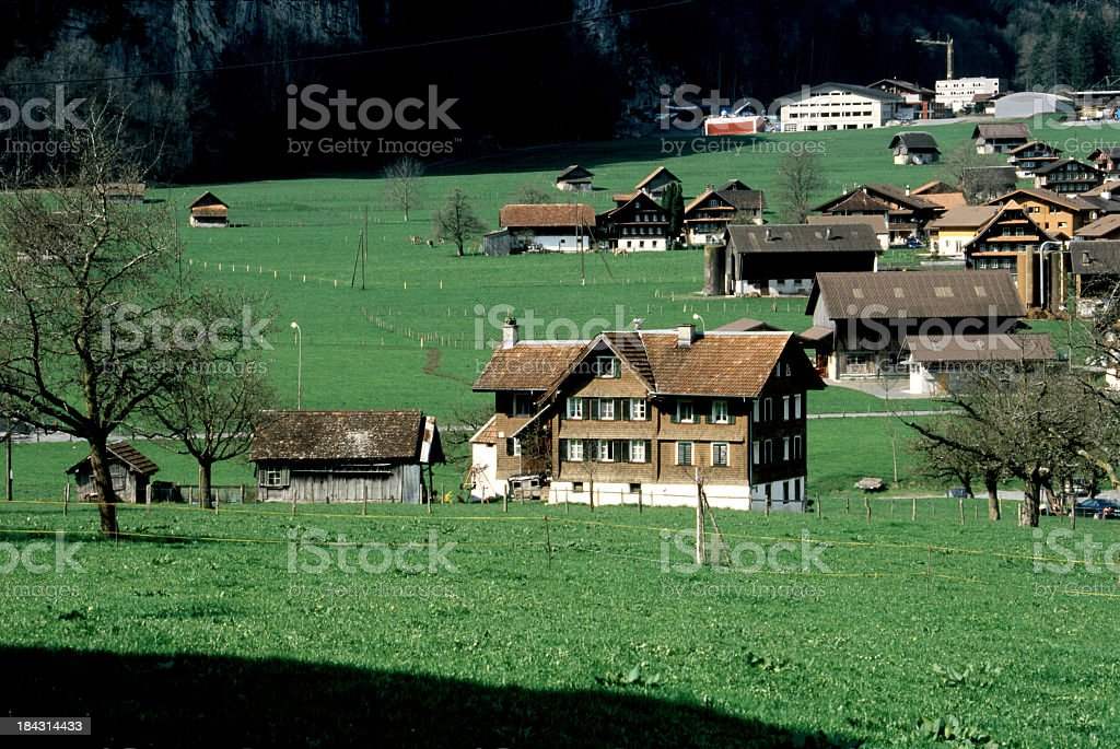Beautiful houses in Swiss alps royalty-free stock photo