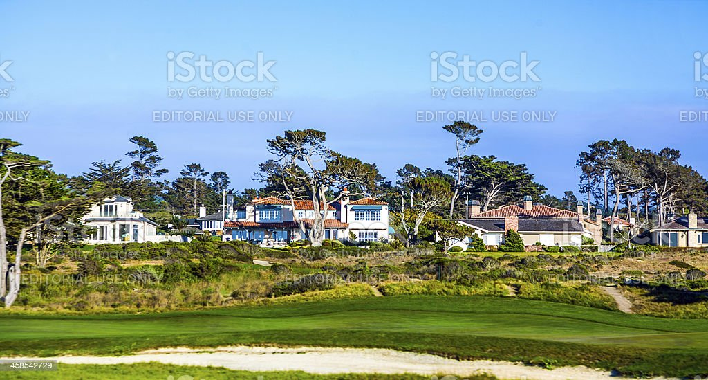 beautiful houses near the Pfeiffer beach in California with golf stock photo