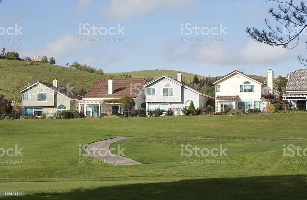 beautiful houses on the golf links stock photo