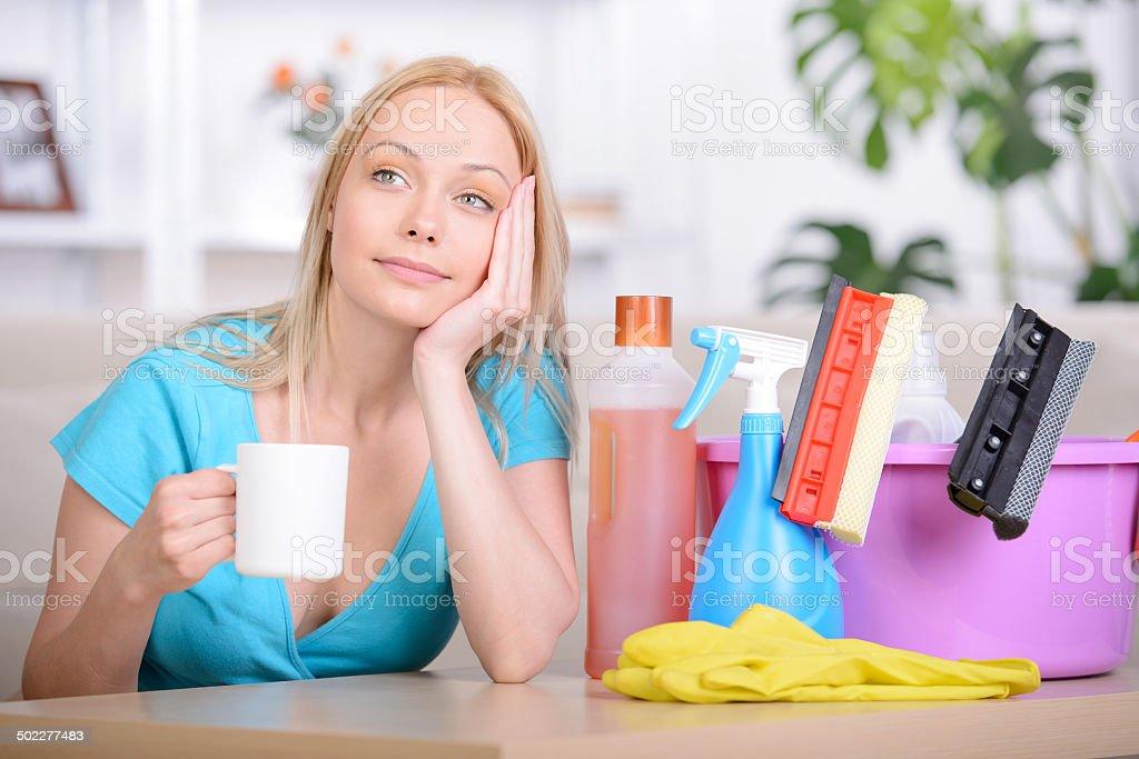 Beautiful Housewife stock photo