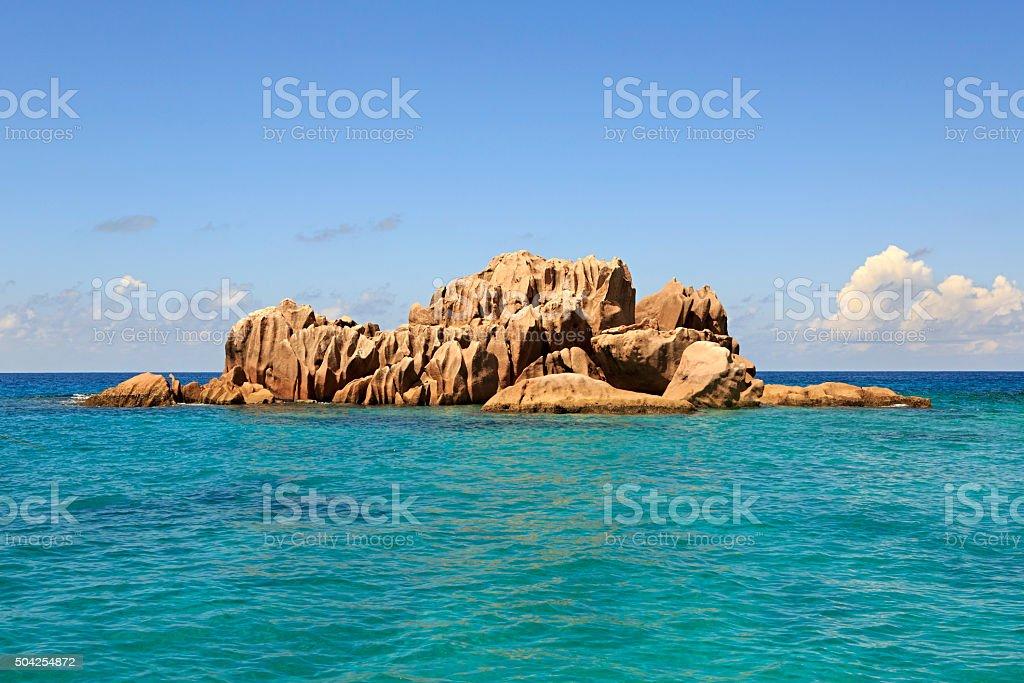 Beautiful Huge granite boulders of St. Pierre Island in Indian stock photo