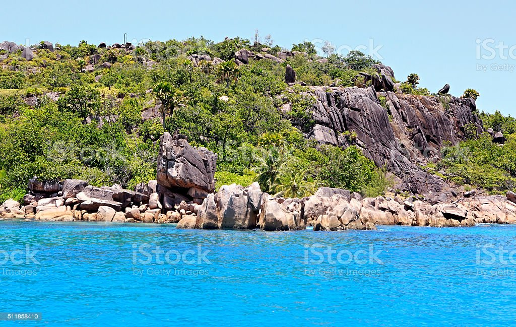 Beautiful Huge granite boulders on Curieuse Island in Indian Ocean stock photo