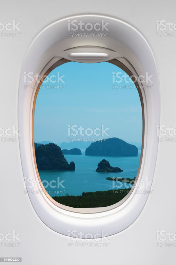 Beautiful iceland view from the airplane stock photo