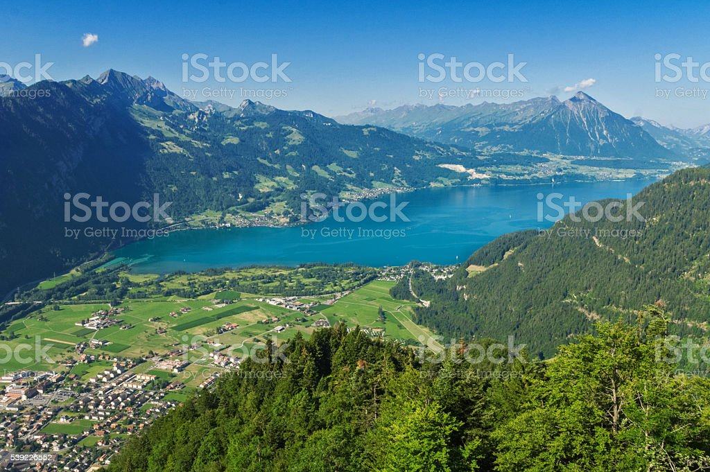 Beautiful idyllic Alps landscape with lake and mountains in summer stock photo