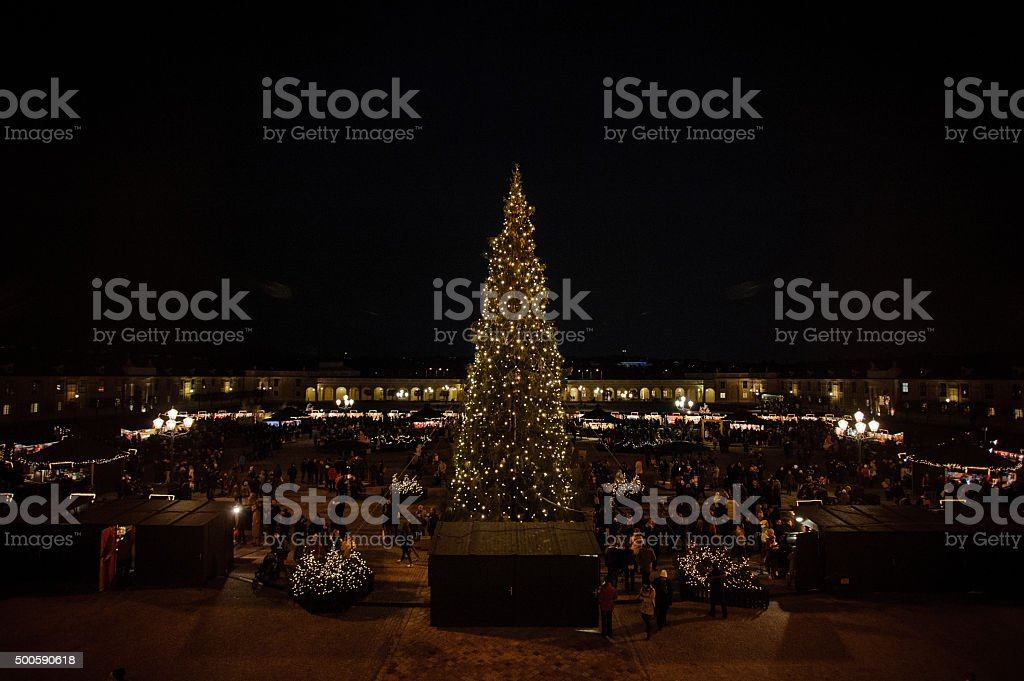 Beautiful illuminations in Viena at Christmas market stock photo