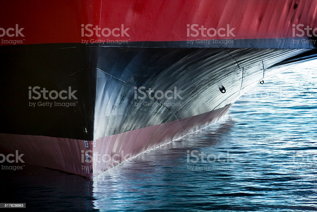 Beautiful image showing the bow of a large ship stock photo