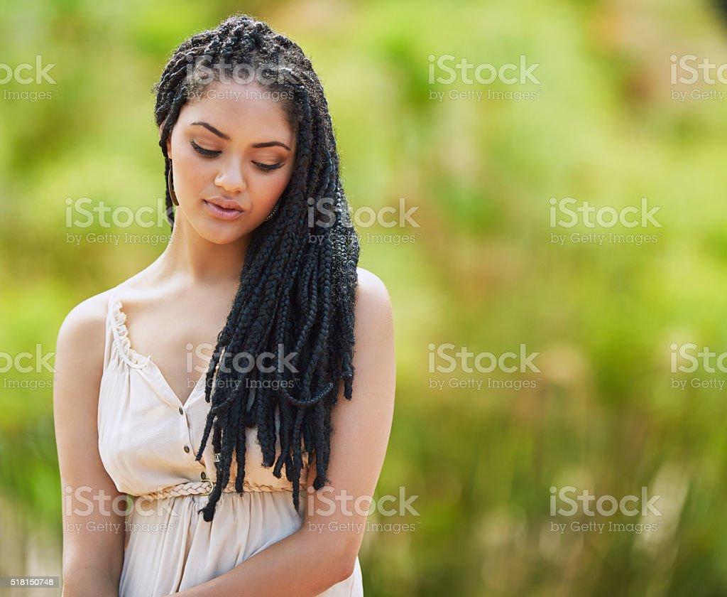 Beautiful in her quiet sensitivity stock photo