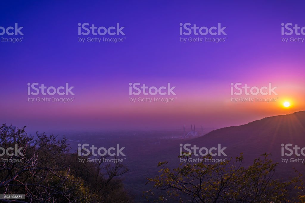beautiful in nature evening sunset with blue sky stock photo