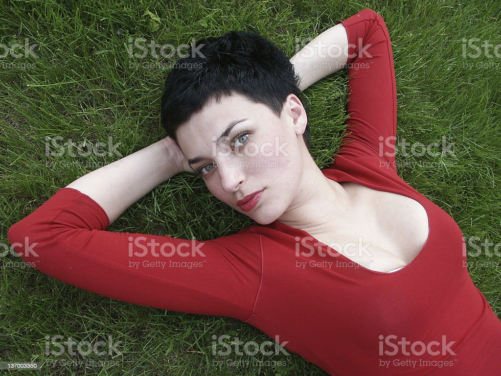 beautiful in red on green royalty-free stock photo