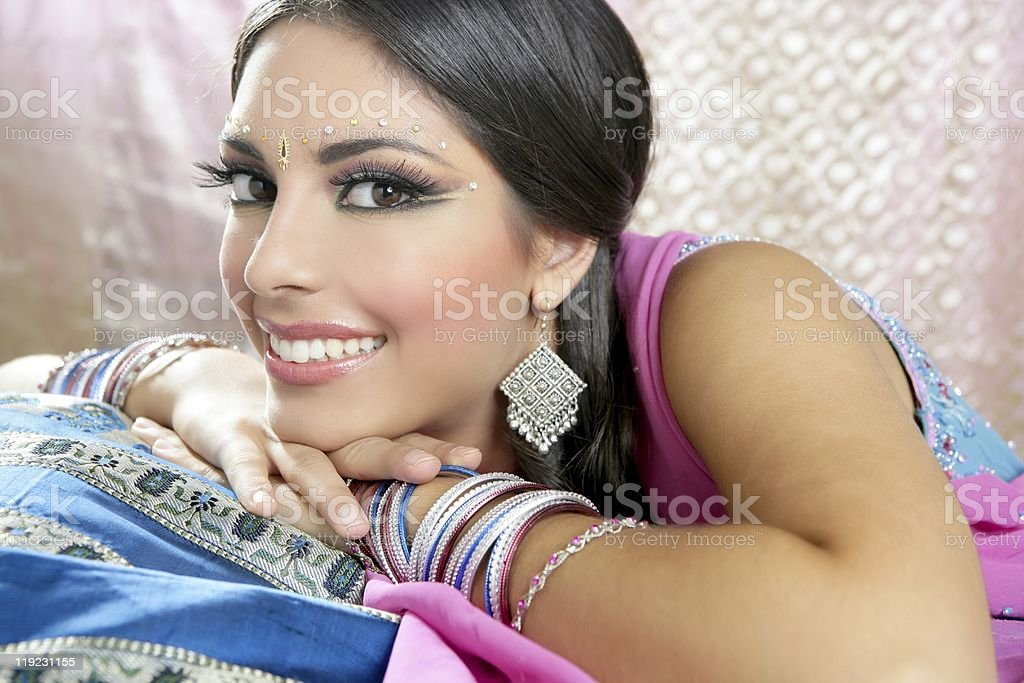 Beautiful indian brunette traditional fashion style royalty-free stock photo