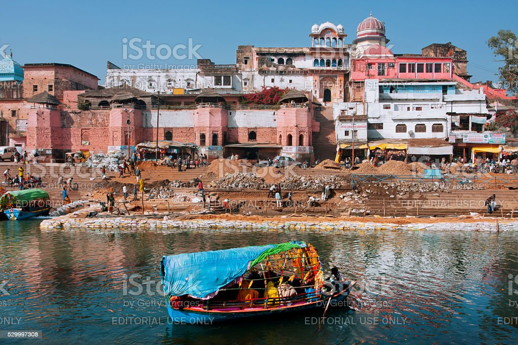 Beautiful indian city with old brick houses, river ghat stock photo
