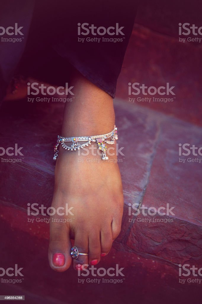 Beautiful Indian Female Foot. stock photo