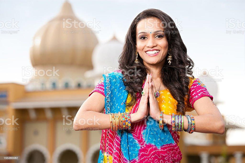Beautiful Indian Girl Namaste royalty-free stock photo