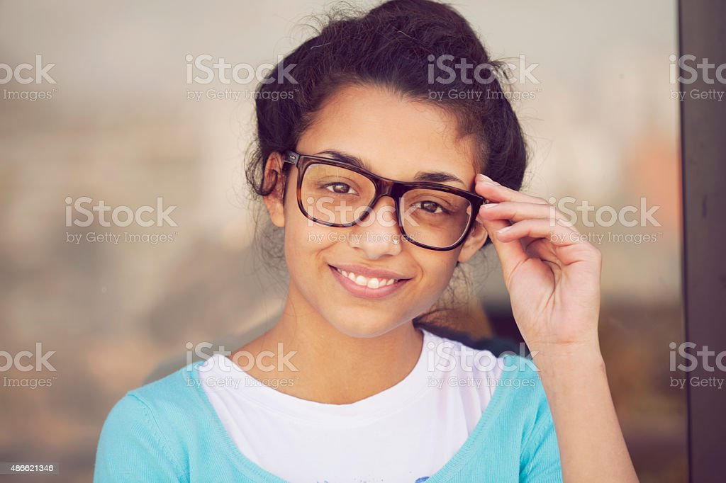 Beautiful indian girl smiling stock photo