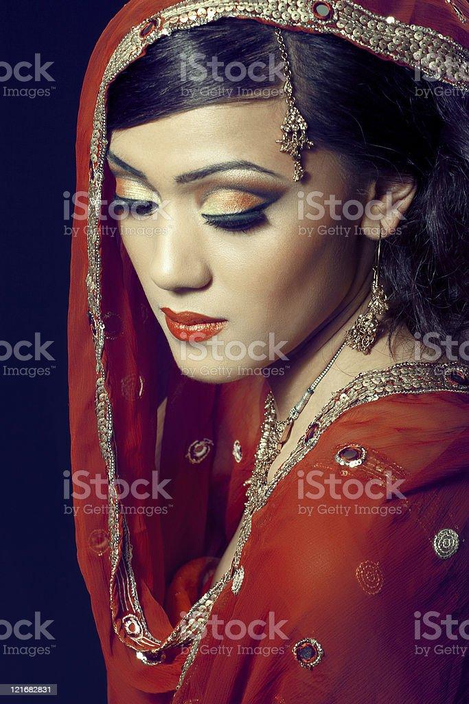 Beautiful indian girl with bridal makeup stock photo